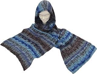 CG - Talento Fiorentino, sciarpa invernale in maglia stampata con cappuccio col. Jeans, unisex, fatta in Toscana, Made in ...