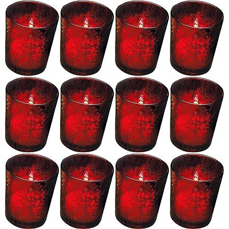 Amazon Com Biedermann Rustic Glass Votive Holder Red Set Of 12 Home Kitchen