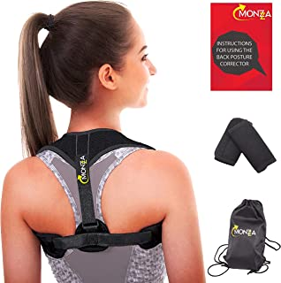 Monzza Back Posture Corrector for Women Men - Comfortable Figure 8 Posture Brace for Clavicle Support | Back Straightener for Upper Neck Pain | Primate Posture to Prevent Slouching | Chest 28