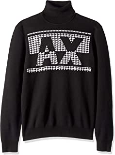 A|X Armani Exchange Men's Houndstooth Ax Log Turtleneck