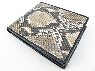 PELGIO Genuine Python Snake Skin Leather Bifold Wallet (Reticulated Natural)