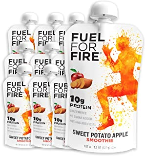 Fuel For Fire - Sweet Potato Apple (12 Pack) Fruit & Protein Smoothie Squeeze Pouch | Perfect for Workouts, Kids, Snacking...