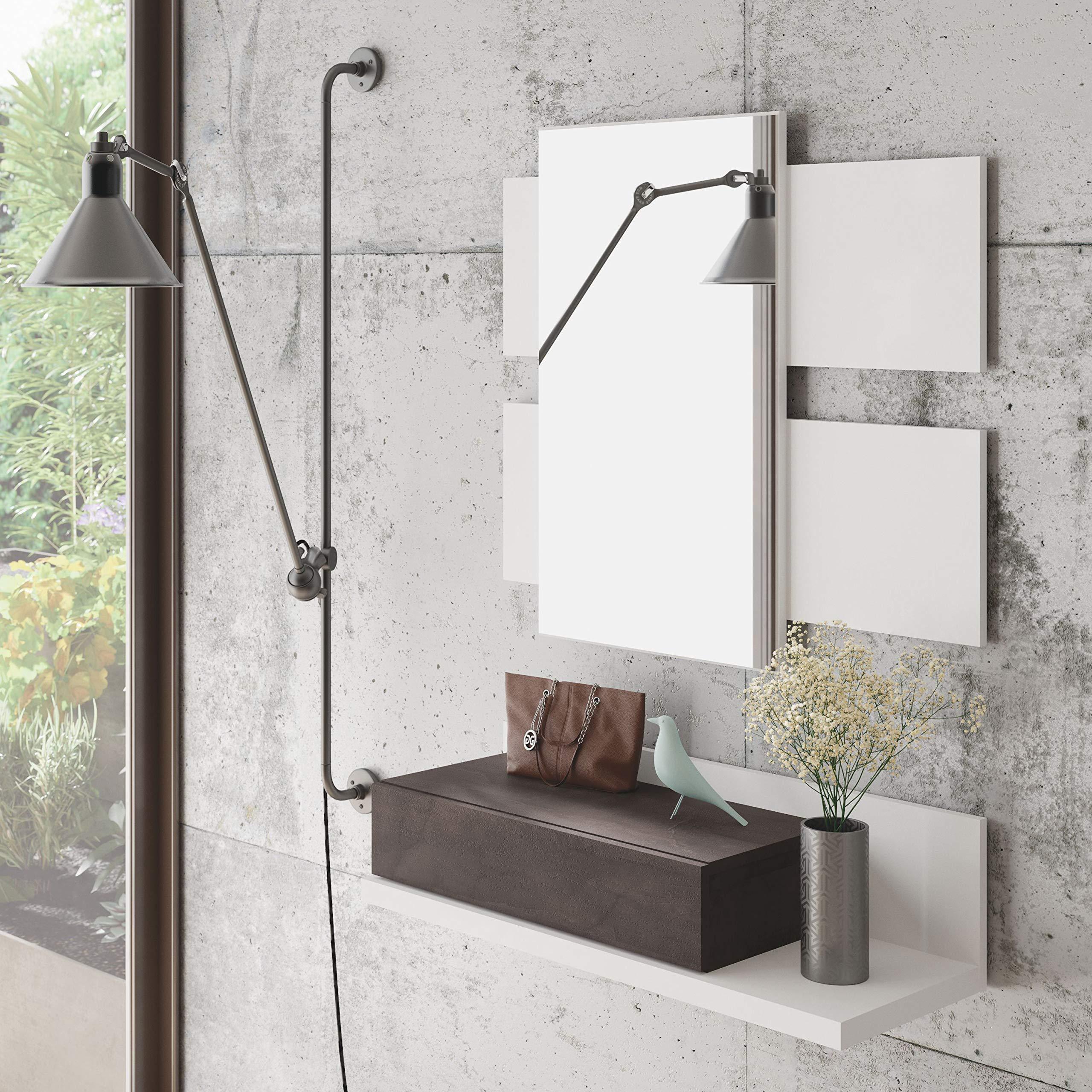 Habitdesign - Recibidor con cajón + Espejo Tekkan, Medidas: 75 x 116 x 29 cm de Fondo (Blanco Artik y Oxido): Amazon.es: Juguetes y juegos
