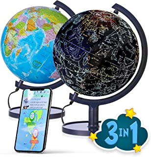 """SJ Smart Globe with Interactive APP & LED Illuminated Constellations at Night, DIY, Easy to Assemble, Educational Content for Kids, USB Cord Included, US-Patented STEM Toy, 10"""" World Globe"""