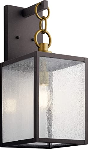"""Lahden 21.75"""" 1 Light Outdoor Wall Light with Clear Seeded Glass in Weathered Zinc"""