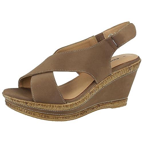 5e6eca389e78 Ladies Cushion Walk Wide E Fit Leather Lined Wedge Peep Toe Strappy Summer  Sandal Size 3