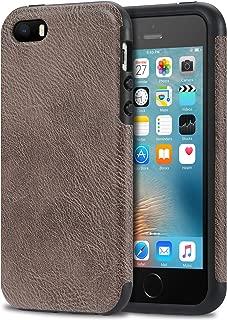 Bisikor iPhone SE Case Leather Texture Design Perfect Protective Case for iPhone SE and iPhone 5S 5 (Gray)