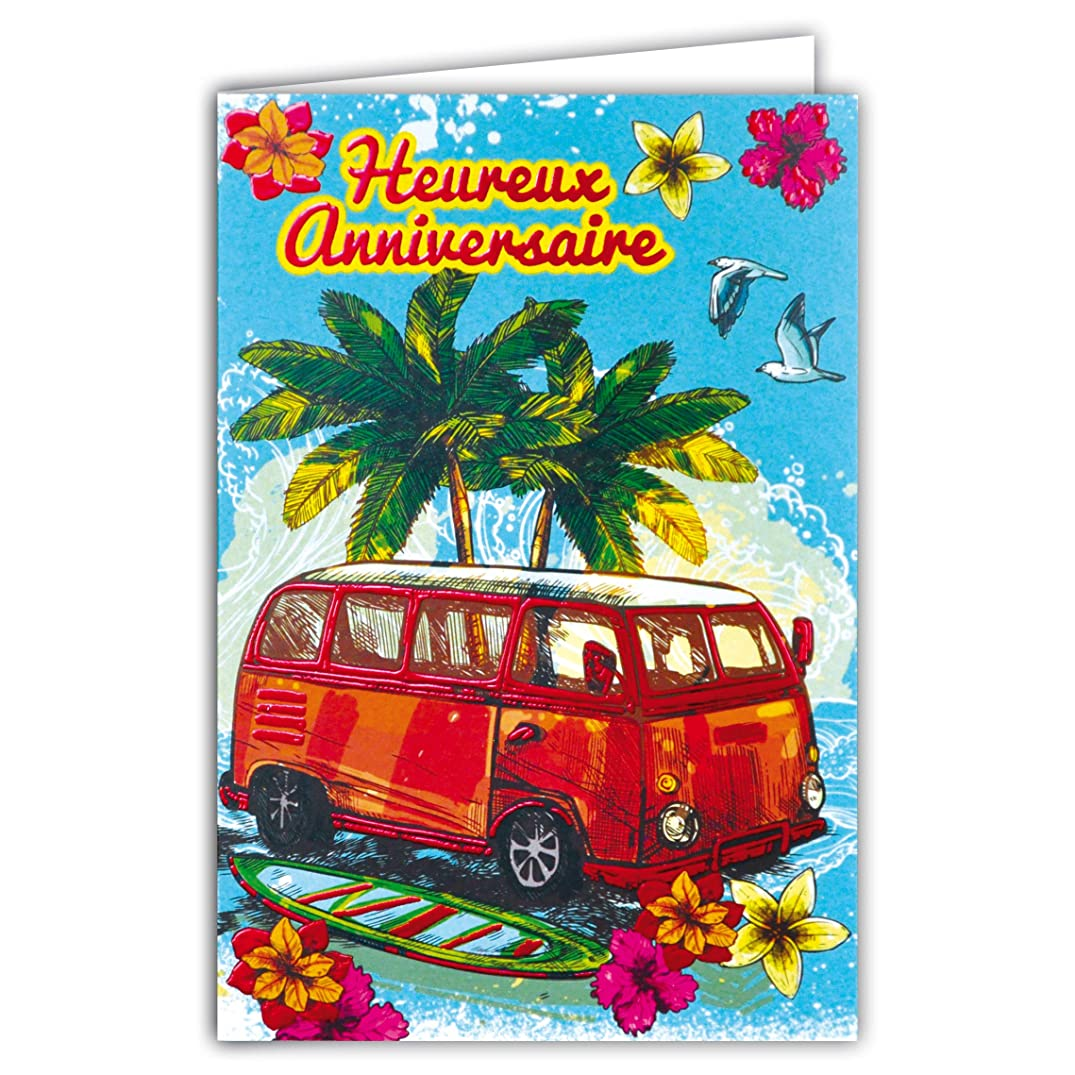 Happy Birthday Card - Red Gloss Combi VW Van Hippie Car Surf 69-4070