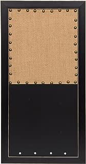DesignOvation Wyeth Framed Combination Wall Organization Burlap Pinboard and Chalkboard, Black
