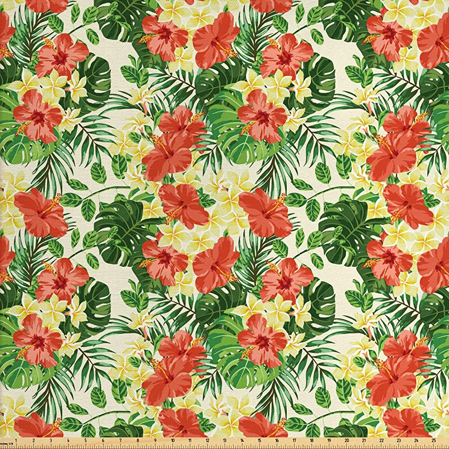 Ambesonne Tropical Fabric by The Yard, Exotic Pattern with Plumeria Hibiscus Monstera Palm Flowers and Leaves, Decorative Fabric for Upholstery and Home Accents, 2 Yards, Red Pale Yellow Green