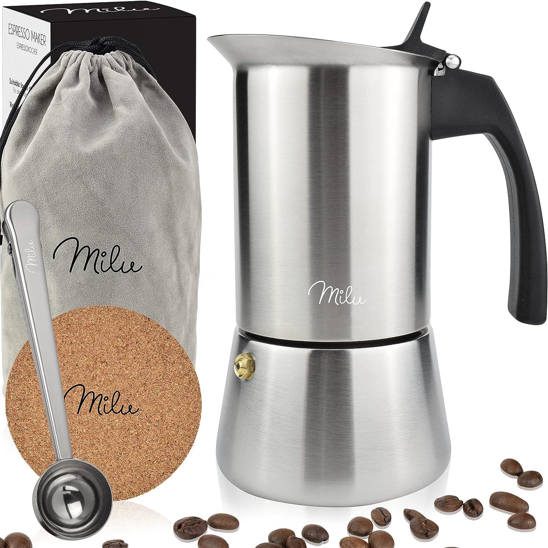 Milu Cafetera Italiana inducción| 2, 4, 6 Tazas| Cafetera Moka de Acero Inox, Expresso Maker (Acero inoxidable, 9 tazas (450ml))