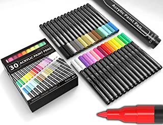 Acrylic Paint Pens 30 Assorted Markers Set 0.7mm Extra Fine Tip for Rock, Glass, Mugs, Porcelain, Wood, Metal, Fabric, Can...