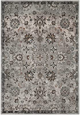 Modway Hana Distressed Vintage Floral Lattice 5x8 Area Rug In Silver Blue, Beige and Brown