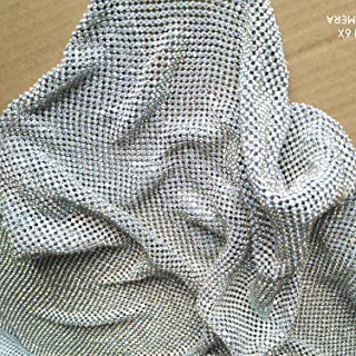Creativesugar Craft Material Metal Rhinestone mesh Fabric cuttable for Clothing Bag Making Party Decorations (Crystal AB Rhinestone)