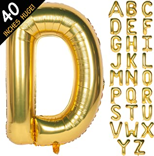Letter Balloons 40 Inch Giant Jumbo Helium Foil Mylar for Party Decorations Gold D