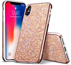 ESR Glitter Hard Case for iPhone Xs/iPhone X, Bling Hard Cover with Dual-Layer Structure [Hard PC Back Exterior + Soft TPU Interior] for The iPhone 5.8 inch(2018 & 2017)(Rosegold)