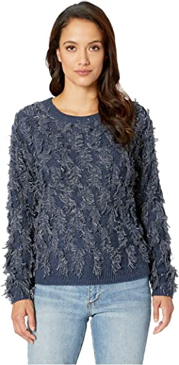 Long Sleeve Crew Neck Fringe Sweater