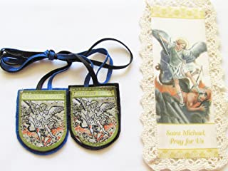 St Michael the Archangel Blue Cloth Shield Scapular and Crochet Bookmark Includes the History of the Blue Scapular