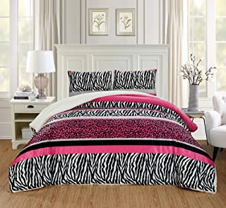 GrandLinen 2 Piece Twin Size Hot Pink Black Animal Print Safari Comforter Set. Leopard, Zebra, Winter Micro Fur Bedding with Sherpa Backing