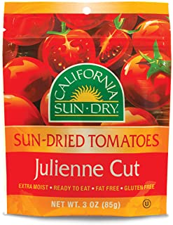 California Sun Dry Sun Dried Tomatoes, Julienne Cut, Ready to Eat, Gluten Free, Fat Free, 3 Ounce Bag, Pack of 2