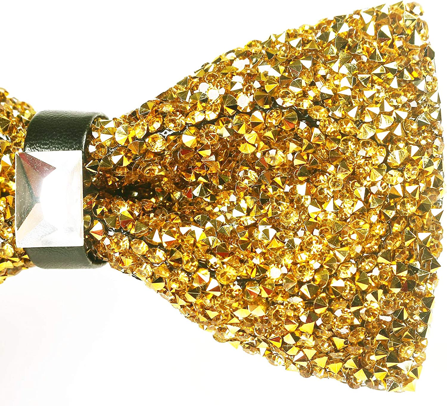Men's Sparkling Rhinestone Bow Tie with Adjustable Strap for Party Wedding Banquet, Gold