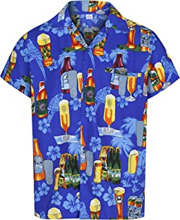 479c09087c6d Mens Hawaiian Shirt Short Sleeve STAG Beach Holiday Beer Bottle Design  Fancy Dress Hawaii - All