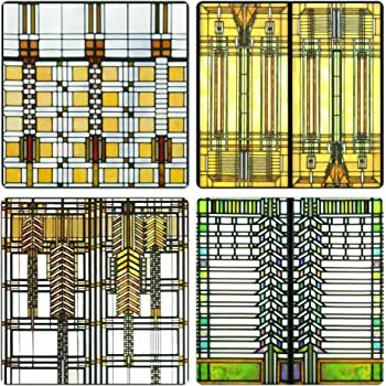 """CoasterStone Absorbent Coasters, 4-1/4-Inch, """"Frank Lloyd Wright Art Glass Collection"""", Set of 4"""