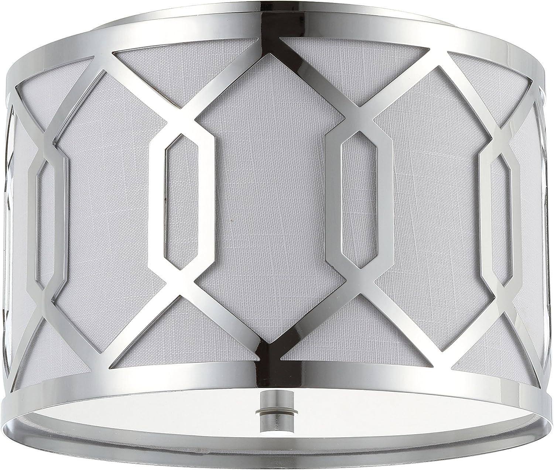 Hex 2-Light 12.5  Metal Flush Mount, Chrome by JONATHAN Y