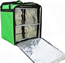 """PK-76F: Doubledeck Insulated Pizza/Food Delivery Backpack Bag, 16""""x 15""""x 18"""", With a Cup Holder. A Waterproof, Collapsible Food Take-Out Box For Catering, Restaurant, Delivery Drivers, 76Liters(Green)"""