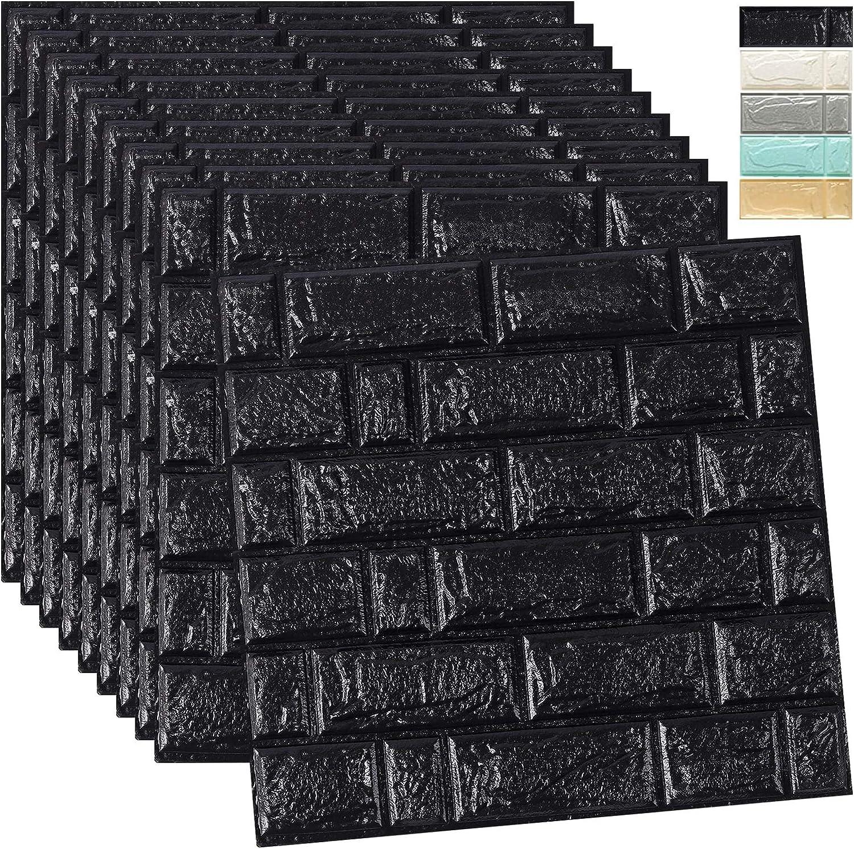 WADILE 3D Wallpaper Peel and Stick,20Pack Self Adhesive Waterproof PE Foam Wall Panels,for Interior Wall Decor Brick Wall Living Room