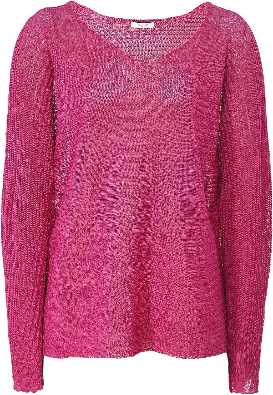 Crea Concept Women's Linen Blend Ribbed Knit Top Pink