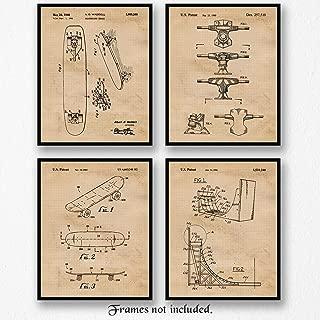 Original Skateboard Patent Poster Prints, Set of 4 (8x10) Unframed Photos, Great Wall Art Decor Gifts Under 20 for Home, Office, Garage, Man Cave, Shop, College Student, X-Games Mullen & Hawk Fan