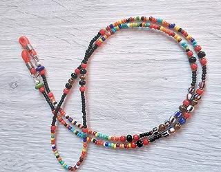 Catenella arcobaleno ENI con perline di Natale per occhiali da sole o da vista fatta a mano in Italia, regalo boho pratico...