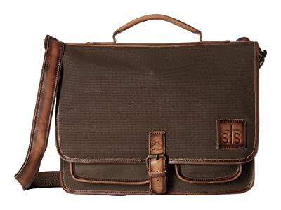 STS Ranchwear The Foreman Portfolio (Dark Khaki Canvas/Leather) Handbags