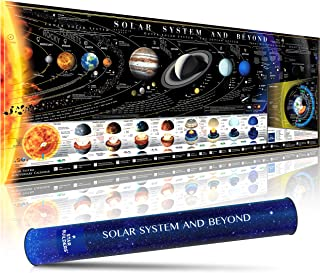 STAR BUILDERS Solar System and Beyond Map - Part of the Milky Way Galaxy - Spellbinding Poster in Tube with All Moons, Planets, Dwarf Planets, Voyager 1 & 2, Interstellar Rock, Alpha Centauri and more