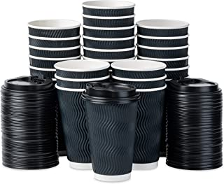 HomeVines Disposable Coffee Cups With Lids - 80 Coffee Cups To Go(16 oz) Large Travel Paper Cup With Spillproof Lid and Retain Shape With Hot Beverage. Insulated Ripple Design To Prevent Finger Burn