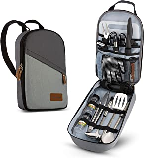 Camp Kitchen Cooking Utensil Set Travel Organizer Grill Accessories Portable Compact Gear for Backpacking BBQ Camping Hiking Travel Cookware Kit Water Resistant Case