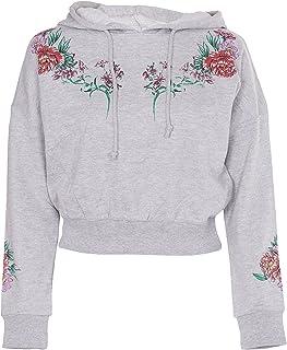 NOROZE Womens Crop Hoodie Ladies Floral Print Sweatshirt Top