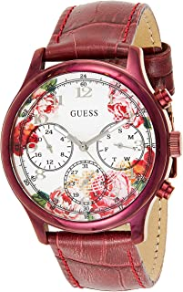 GUESS Womens Quartz Dress Watch, Analog and Leather- W1017L3
