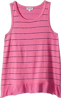 Printed Stripe with Crinkle Gauze Hem Top (Big Kids)