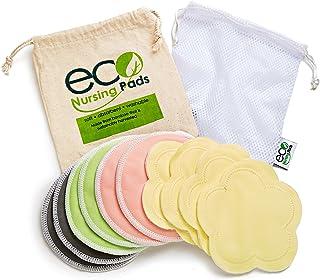 Washable Reusable Bamboo Nursing Pads | Organic Bamboo Round Breastfeeding Pads, Ultra-Soft Velvet Flower Pads | 10 Pack w...