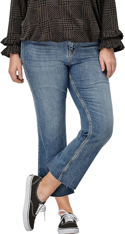 ellos Women's Plus Size Crop Bootcut Jeans