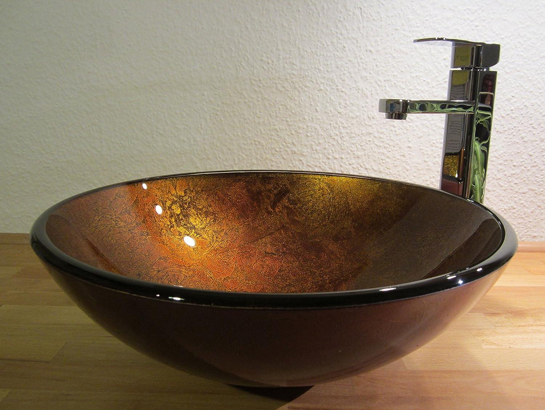 schwarz Aufsatz Glas Waschbecken Antik Gold 42cm