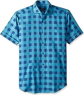 Bugatchi Men's Tappered Plaid Spread Collar Short Sleeve Shirt