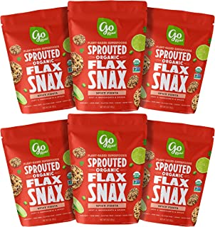 Go Raw Superfood Flax Snax, Gluten Free Crackers, Spicy Fiesta, 3 oz. Bags (Pack of 6) — Keto | Organic | Vegan | Paleo | Natural