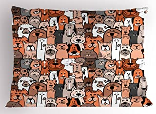 Ambesonne Animals Pillow Sham, Pattern of Pet Cats and Dogs Doodle Style Art Cartoon Style Retro Domestic Animals, Decorative Standard Queen Size Printed Pillowcase, 30 X 20 Inches, Brown Grey
