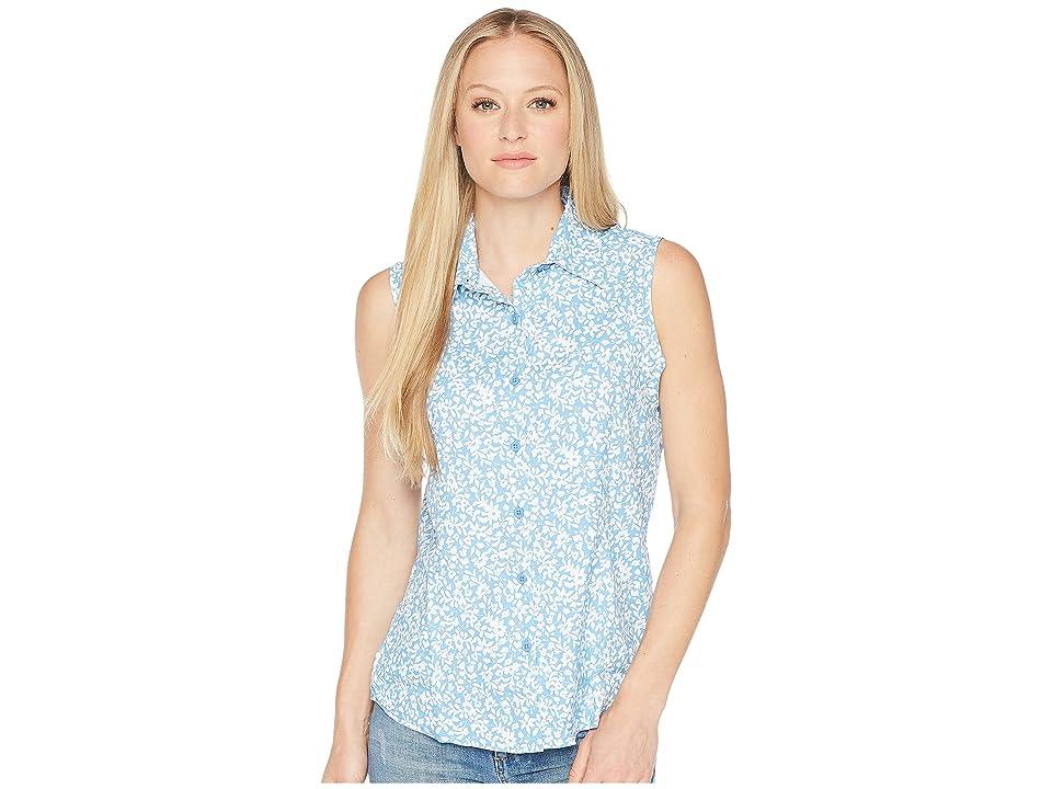 White Sierra Gobi Desert Sleeveless Printed Shirt (Provence Blue) Women