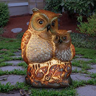 Exhart Night Owlets Garden Statue - Hand-Painted Pair of Owls Statue (Owlets) w/Solar Decor Lights Provide Solar Outdoor G...