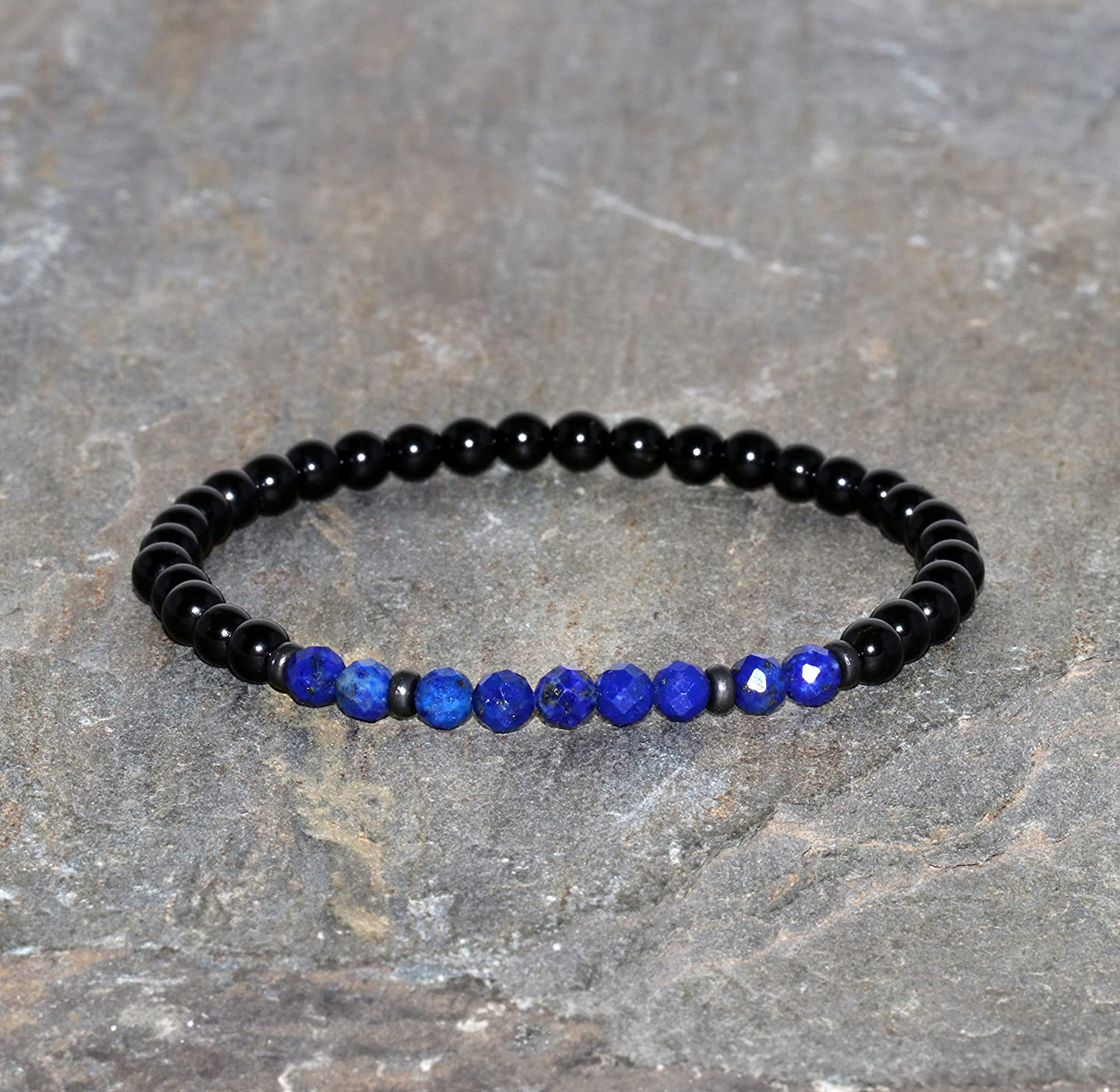 Lapis lazuli and 67% OFF of fixed price Black shopping Spinel Bracelet 4mm Fa Grade Handmade AAA
