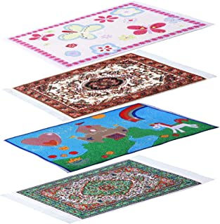 4 Pieces 1:12 Dollhouse Carpet Miniature Woven Carpet Mini Turkish Rugs Dolls House Rugs Mini Floor Blanket for Dollhouse ...